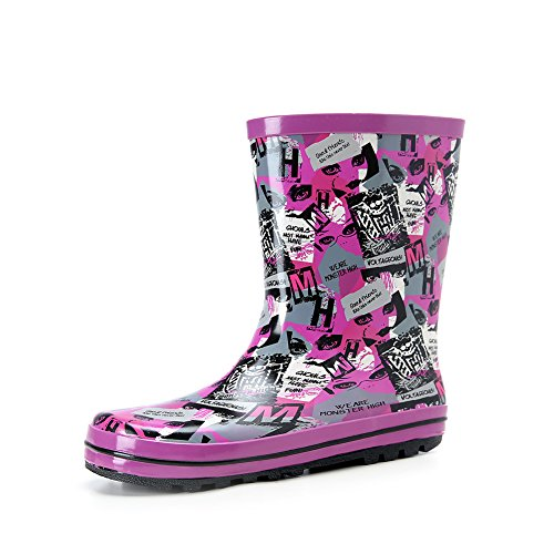 Womens Cute Print Waterproof Pull On Ankle/ Overknee Rain Boot Purple and Letter US Size 9