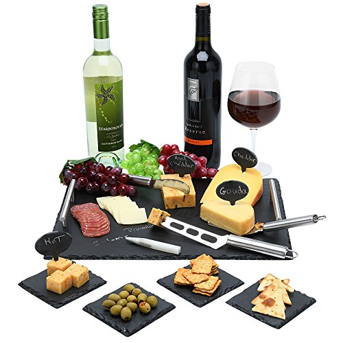 Slate Cheese Board Set by My Funfare - Complete Cheese Platter Kitchen Essential Bundle / 4 Large Stainless Steel Cheese Board With Handles, Marker Signs, Chalk Pen & 4 Coasters ()