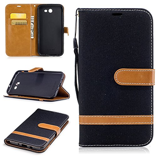 Galaxy J7 2017 Wallet Case, Galaxy J7 V Case, Galaxy J7 Perx Case, Galaxy J7 Sky Pro Case, Easytop Wallet Flip Protective Case Cover with Card Slots and Stand for Samsung Galaxy J7 2017 (Black) ()