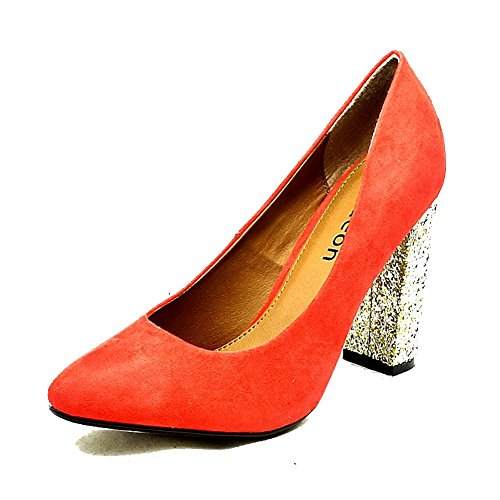 Ladies suedette pointy toe court shoes with gold glitter heel Coral p4AoLZR