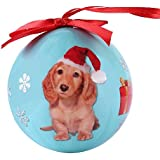 Cue Cue Pet Festive Ready to Hang Holiday Minature Blonde Dachshund Ball Ornament