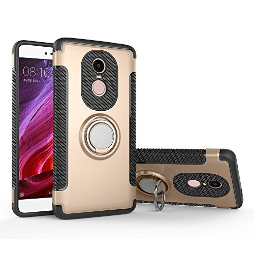 Price comparison product image Xiaomi Redmi Note 4X Case, BENKER Creative PC+ TPU Soft Silicone Dual Layer Hybrid Armor and Multi-functional Magnetic Bracket Phone Cover Case - Gold