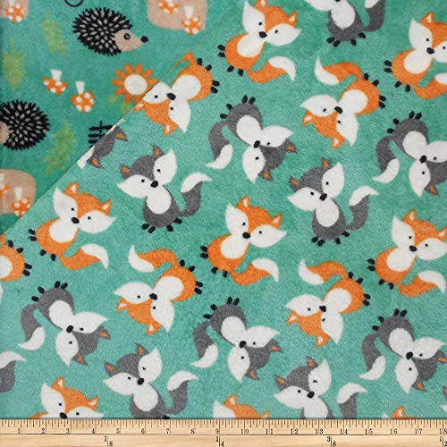 Mook Fabrics USA LP Plush Fleece 2 Sided Fox/Forest Fabric, 1, Turquoise, Fabric by the Yard