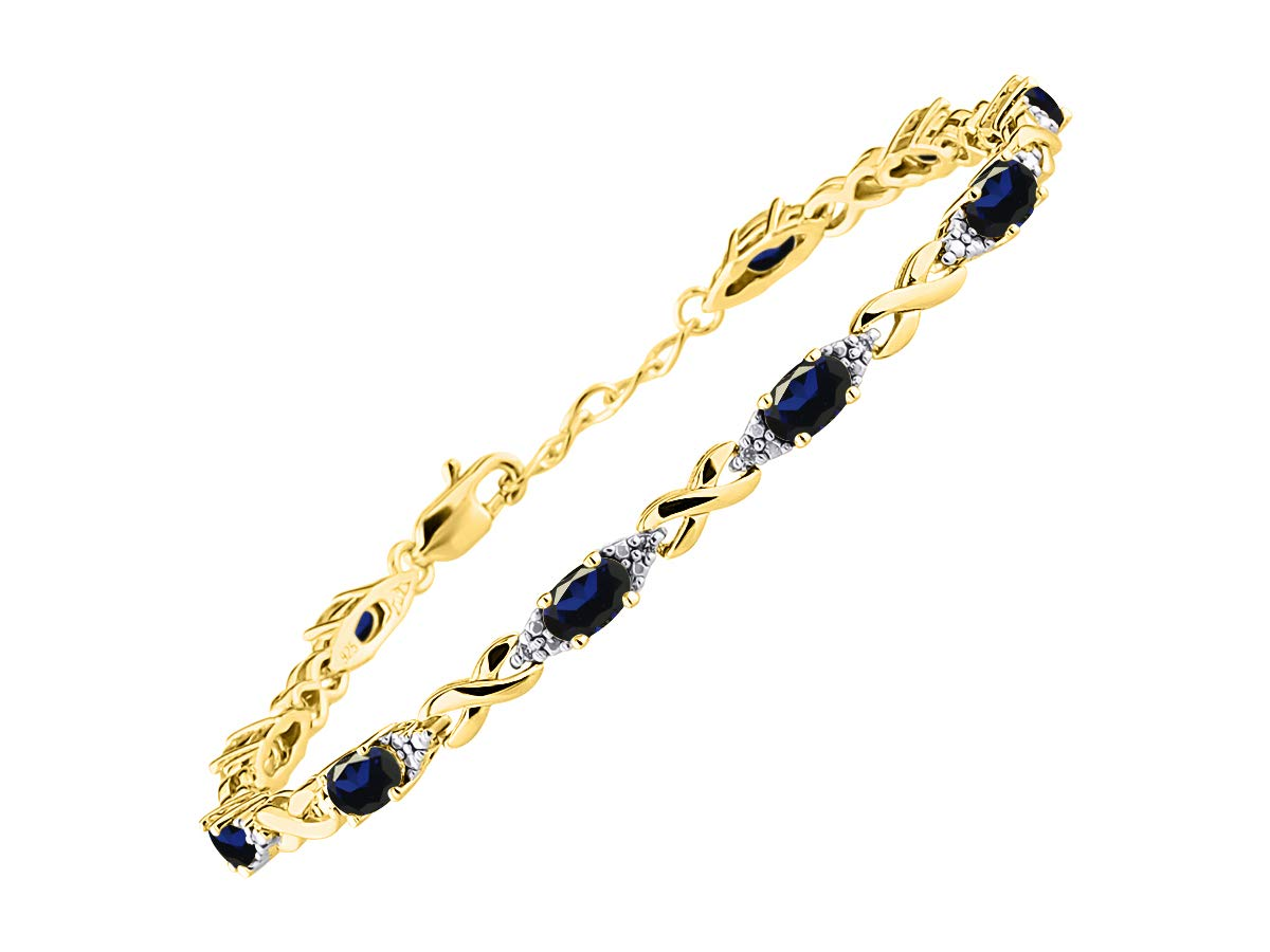 Stunning Blue Sapphire & Diamond XOXO Hugs & Kisses Tennis Bracelet Set in Yellow Gold Plated Silver - Adjustable to fit 7'' - 8'' Wrist