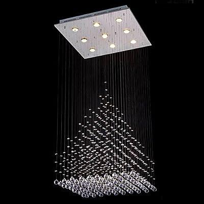 "Saint Mossi Modern K9 Crystal Raindrop Chandelier Lighting Flush Mount LED Ceiling Light Fixture Pendant Lamp for Dining Room Bathroom Bedroom Livingroom 9 GU10 Bulbs Required H47"" X W24"" X L24"""