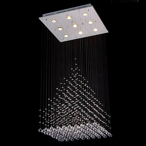 Marker Crystal Side - Saint Mossi Modern K9 Crystal Raindrop Chandelier Lighting Flush Mount LED Ceiling Light Fixture Pendant Lamp for Dining Room Bathroom Bedroom Livingroom 9 GU10 Bulbs Required H47