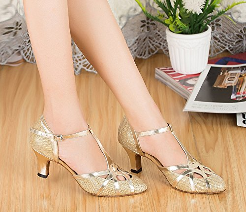 Latin Bling Honeystore Gliter Mid Women's Gold Party Toe Heel Shoes Shoes T Strap Closed Dance XqSHq4Tw