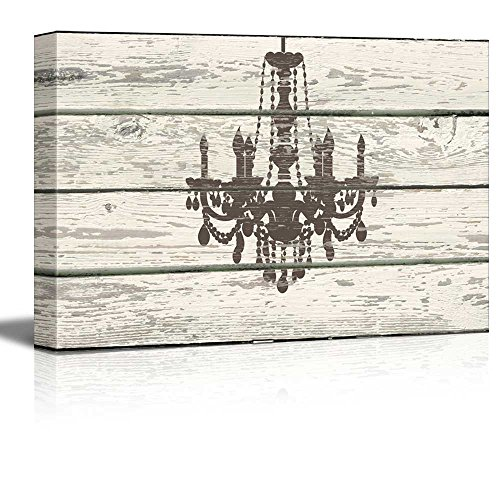 wall26 - Chandelier Silhouette Crystal Candles II Artwork - Rustic Canvas Wall Art Home Decor - 24x36 inches