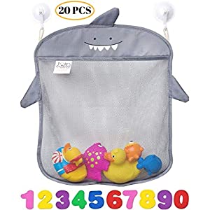 Bath Toy Organizer By Jojo Kids Keep Toys Dry Without Mold | Superior Quality Tub Toy Storage | Set of 2 Large Size and Quick Dry Bathtub Toy Holder Incl.10 Foam Numbers