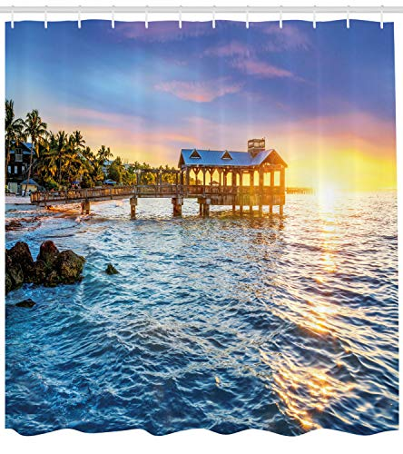 Ambesonne United States Shower Curtain, Pier at Beach in Key West Florida USA Tropical Summer Paradise, Cloth Fabric Bathroom Decor Set with Hooks, 105