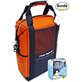 Polar Bear Coolers Nylon Series Backpack Size 18 Pack Orange & Fit & Fresh Cool Coolers Slim Ice 4-Pack (Bundle)