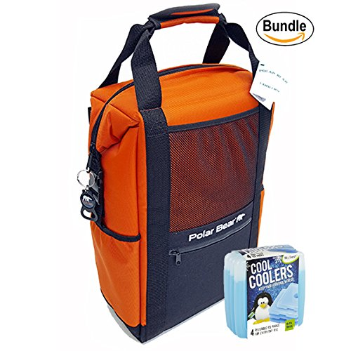 Polar Bear Coolers Nylon Series Backpack Size 18 Pack Orange & Fit & Fresh Cool Coolers Slim Ice 4-Pack (Bundle) by Polar Bear / Fit & Fresh