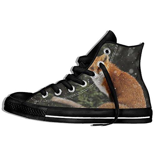 Classiche Sneakers Alte Scarpe Di Tela Anti-skid Fox Casual Da Passeggio Per Uomo Donna Nero