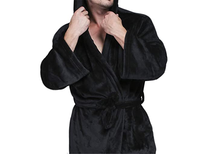 Invierno cálido de Franela Hombres con Capucha Albornoz Bata Hombre Bata de baño para Hombre Manto Ropa de Dormir de Gran tamaño para Hombre Vestido de ...
