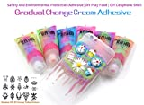 mofa 50g 6PCS Gradual Change Cream Adhesive,Faux Simulation Fake Whipped Cream Glues Set,Crystal Cream Adhesive with 14 Nozzle