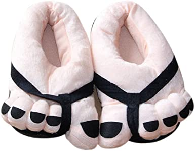 Women Funny Slippers Toe Big Feet Velvet Anti-Slip House Slippers Novelty Warm Soft Indoor Home Floor Shoes by Nevera