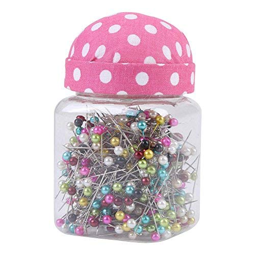 500Pcs Pearl Needles Quilting Pins Packed in Pink Fabric Covered Pin Cushion Bottle Wedding Decorating Tool Sewing Crafts