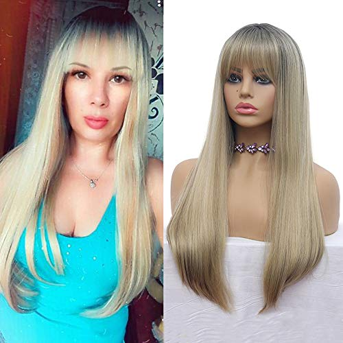 Ombre Wig 2 Tone Ash Blonde Mixed Black Brown Wigs Long Straight for Women Neat Bangs Synthetic Heat Resistant Fiber Natural Looking Wigs for Daily Cosplay Party