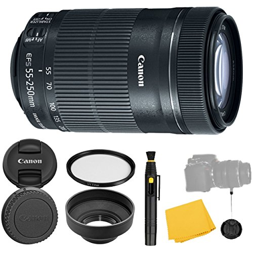Canon EF-S 55-250mm f/4-5.6 IS STM Lens + UV Filter + Collapsible Rubber Lens Hood + Lens Cleaning Pen + Lens Cap Keeper + Cleaning Cloth - 55-250mm STM: Lens -International Version (No warranty)