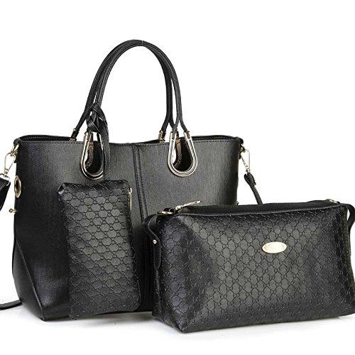 CinCinEinfache Europäische Mode Luxus Tendenzen Handtaschen Sardellen Muster Pack Satz von drei Laptop Messenger Tasche , black