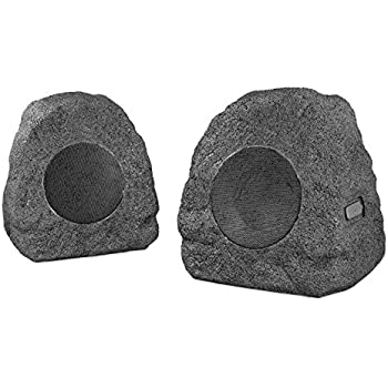 Innovative Technology Premium 5-Watt Bluetooth Outdoor Rock Speakers with A/C Adaptor and Built In Rechargeable 5200mAh Battery, Pair, Charcoal