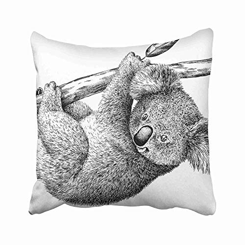 TOGEFRIEND Drawing Black and White Engrave Koala Ancient Animal Antique Australia Bear Cinereus Contour Throw Pillow Cover Covers 18x18 Inch Decorative Pillowcase Cases Case Two Side