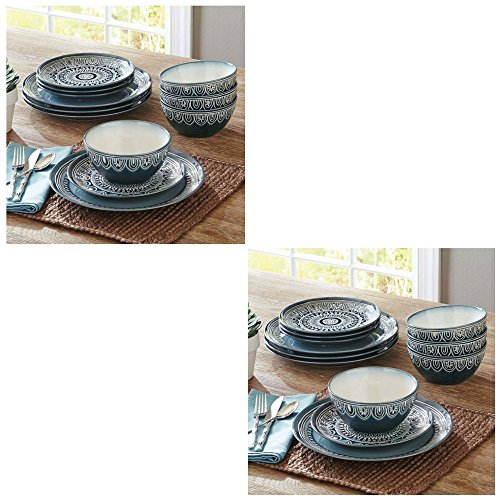 Better Homes and Gardens Teal Medallion 12-Piece Dinnerware Set, Teal (2 Pack)