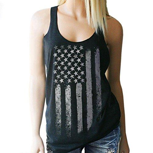 GBSELL Womens Girl Summer Print Sexy Sleeveless Tank Crop Tops Blouse Shirt (Black, L)