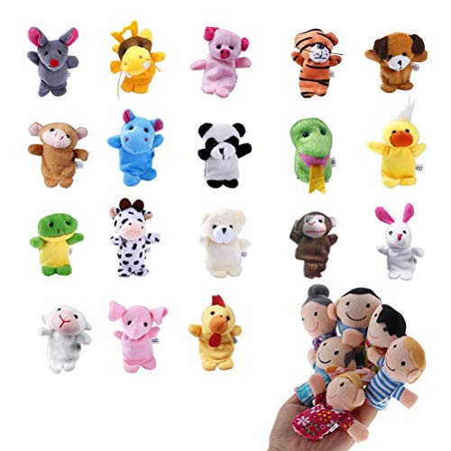(Uspacific 24Pcs Animal Finger Puppets, Plush Handmade Sewing Educational Hand Cartoon Finger Puppets Animal Toys for Baby Story Time, Theme Party Favor)