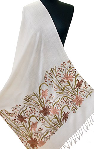 Crewel Embroidered Flowers (Crewel Embroidered White Wool Shawl Subtle Tones Rose Gold Flower Pashmnia 80