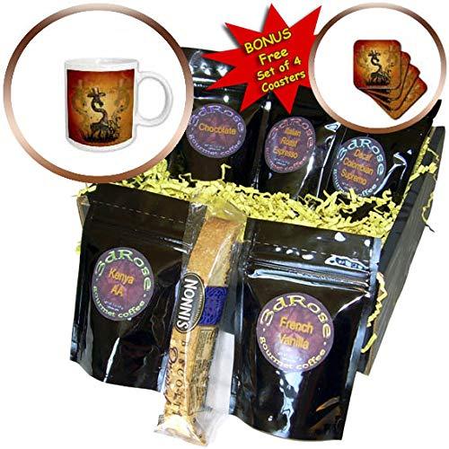 3dRose Heike Köhnen Design Animal - Funny cute steampunk giraffe with hat - Coffee Gift Baskets - Coffee Gift Basket (cgb_293110_1) by 3dRose