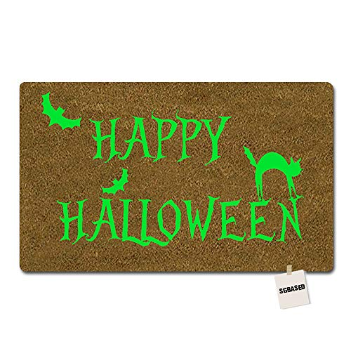 SGBASED Door Mat Funny Doormat Happy Halloween Design Green Mat Washable Floor Entrance Outdoor & Indoor Rug Doormat Non-Woven Fabric (30 X 18 -