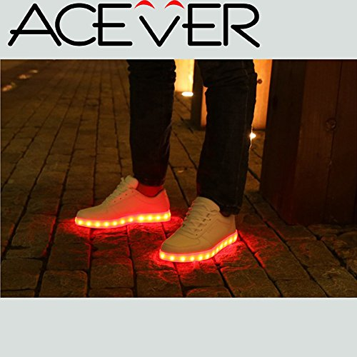 Sports Shoes-ACEVER 12-Light Modes Men's Sports Shoes Sneakers Flashing Shoes LED Light Shoes Prom Rave Birthday Halloween Christmas Valentine's Day Camping Hiking Trekking Biking Gift