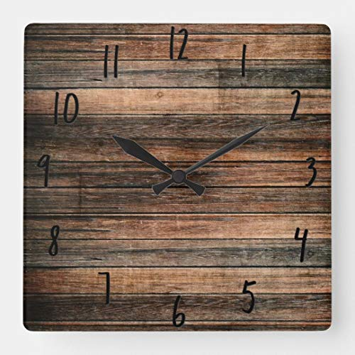 TattyaKoushi 15 by 15-inch Wall Clock, Rustic Weathered Wood Brown Barn Country Farmhouse Square Wall Clock, Living Room Clock, Home Decor Clock (Clock Barn)