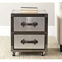 Safavieh Home Collection Gage Black and Silver 2 Drawer Rolling Chest