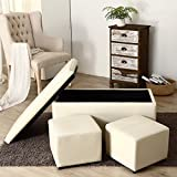 3-Piece Ottoman Bench Cube Storage Box Lounge Seat Footstools with Lid, Cream + FREE E - Book