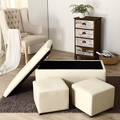 3-Piece Ottoman Bench Cube Storage Box Lounge Seat Footstools with Lid, Cream + FREE E - Book by Eight24hours
