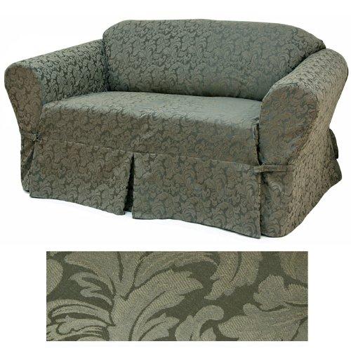 Cotton Floral Slipcover - Damask Olive Furniture Slipcover Loveseat 584