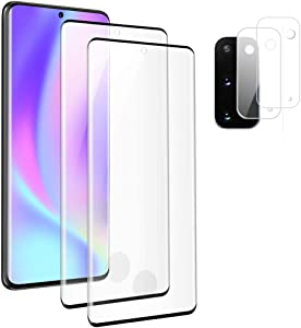 [2+2] Galaxy S20 Screen Protector Tempered Glass,Camera Lens Protector [Touch Sensitive][Fingerprint Support][9H Hardenss][No Bubbles] for Samsuny Galaxy S20 / S20 5G (6.2