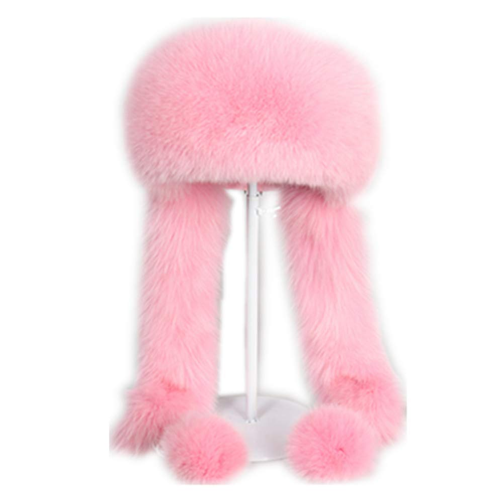 MH Bailment Women Winter Real Fur Cap Fox Fur Genuine Leather Hats Scarf Ear Protector Multicolor (M(56-58cm), Pink)