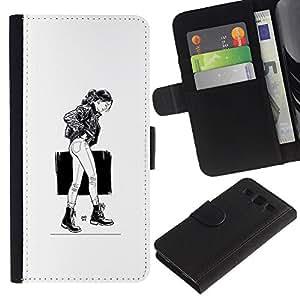 LECELL--Cuero de la tarjeta la carpeta del tirón Smartphone Slots Protección Holder For Samsung Galaxy S3 III I9300 -- Caminando Girl - B & W --