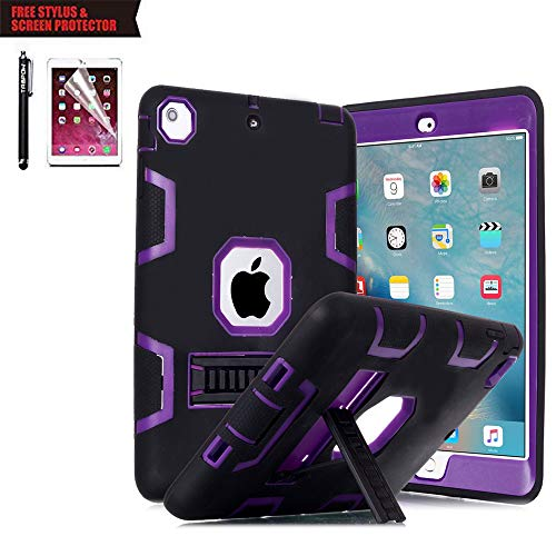 iPad Air 2 Case, TabPow Purple Rugged Triple-Layer Shock-Resistant Drop Proof Defender Case Cover with KickStand For Apple iPad Air 2 with Retina Display / iPad 6