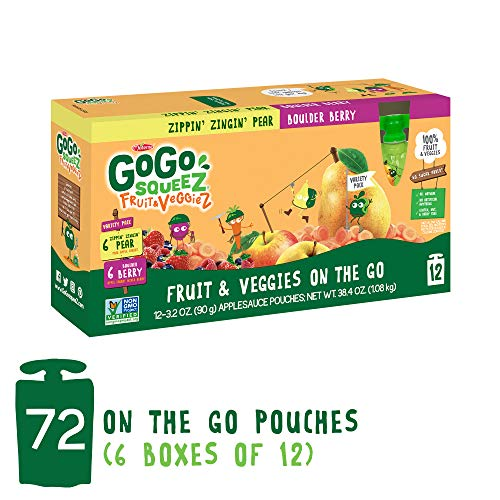 GoGo squeeZ Fruit & VeggieZ on the Go, Variety Pack (Apple Pear/Apple Berry), 3.2 Ounce (72 Pouches), Gluten Free, Vegan Friendly, Healthy Snacks, Unsweetened, Recloseable, BPA Free Pouches