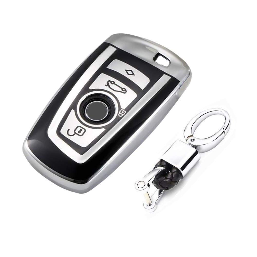 Flypc Keyless Entry Remote Cases Key Fob Cover with Keychain Full Protection Soft TPU Holder Shell for BMW 1 3 4 5 6 7 Series and X3 X4 M2 M3 M4 M5 M6 Silver
