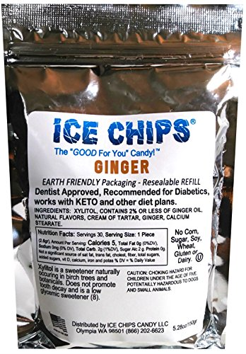 - ICE CHIPS Birchwood Xylitol Candy in Large 5.28 oz Resealable Pouch; Low Carb & Gluten Free (Ginger)