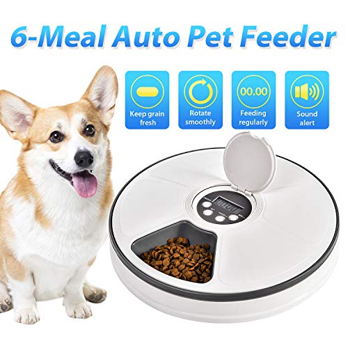 EliPark Automatic Pet Feeder Food Dispenser for Dogs, Cats & Small Animals - Features Distribution Alarms, Programmed Timed Self 6 Meal Trays Dry Wet, Digital Clock,Portion Control