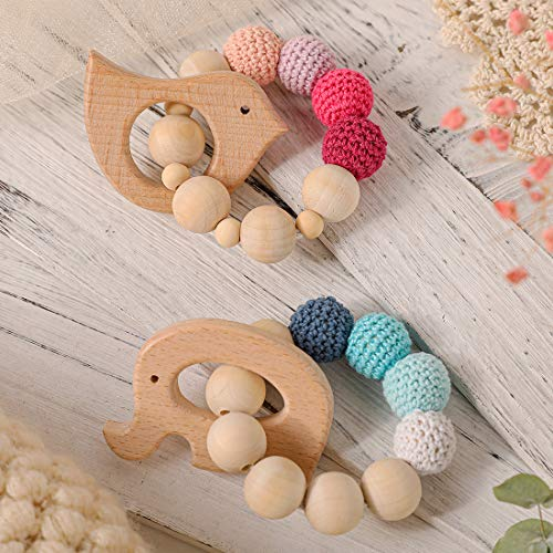 HAO JIE 2pc Baby Wooden Teethers Organic Elephant Bird Shaped Teething Toy Montessori Baby Teething Gift Baby Teether Toy