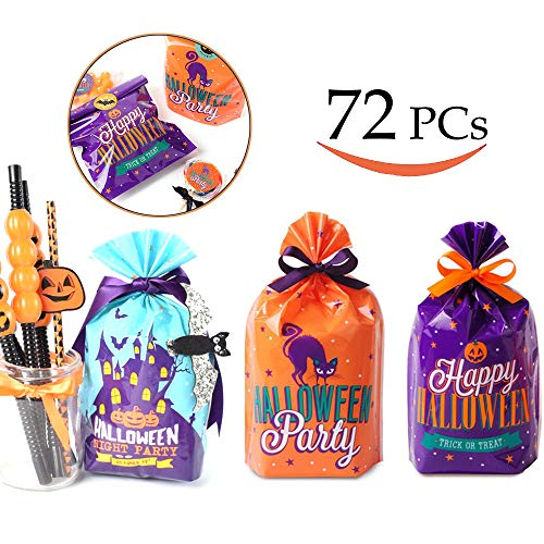 (Debolic 72 Pcs Halloween Treat Bags Goody Bags Plastic Candy Cookie Bags for Party Favors, Snacks, Decoration, Children Arts & Crafts, Event Supplies, Halloween Party)