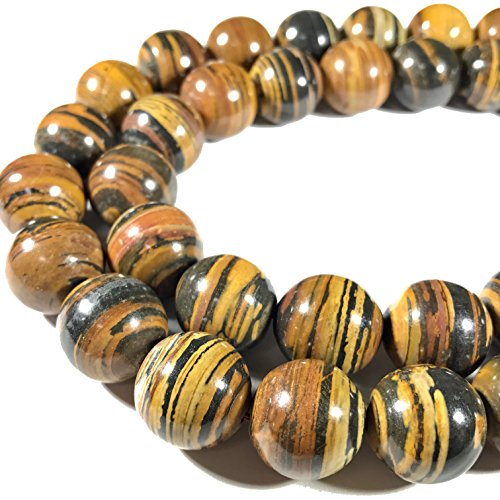 [ABCgems] Extremely Rare Madagascan Chocolate Petrified Wood AKA Fossilized Wood (Exquisite Tiger Matrix- Grade AA) 16mm Smooth Round Beads For Beading & Jewelry -
