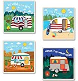 Camping Stone Coaster 4 Piece Set Cork Backed - Beach, Mountain, Desert, Forest